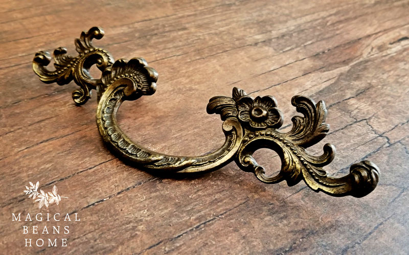 Vintage Keeler Brass Co Baroque Antiqued Gold French Drawer Pull in Solid Brass  - product images  of