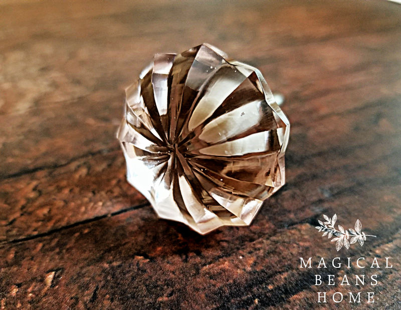 Blush Colored Glass Faceted Decorative Knob - product images  of