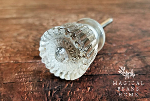 Vintage,Inspired,Clear,Matte,Glass,Fluted,Knob,vintage inspired glass knob, glass dresser hardware, fluted glass knob, clear matte glass knobs, dresser knobs, drawer knobs, cabinet knobs, floral glass knobs, medium ribbed glass knob