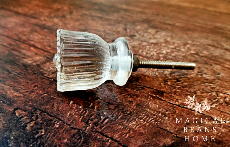 Vintage Inspired Clear Matte Glass Fluted Knob  - product images  of