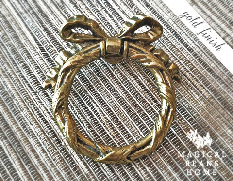 Vintage KBC Solid Brass Ribbon, Bow U0026 Wreath Ring Pull   Gold Finish