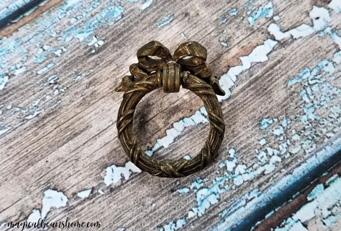 Vintage,KBC,Solid,Brass,Ribbon,,Bow,&,Wreath,Ring,Pull,-,Gold,Finish,Ribbon & Bow Wreath Ring Pull, Victorian Furniture Pull ,Keeler Brass Dresser Pull ,Brass Drawer Pull ,Dresser Hardware ,Vintage Drawer Pulls