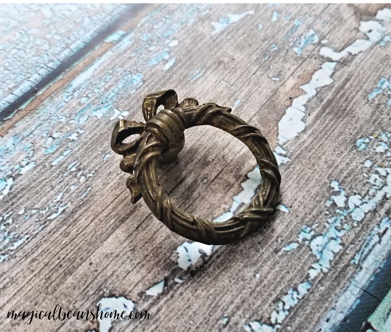 Vintage KBC Solid Brass Ribbon, Bow & Wreath Ring Pull - Gold Finish - product images  of
