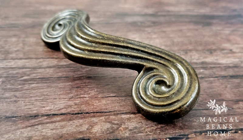Vintage Mid Century Modern Large Antiqued Gold Groovy Spiral Swirl Drawer Handles in Solid Brass - product images  of