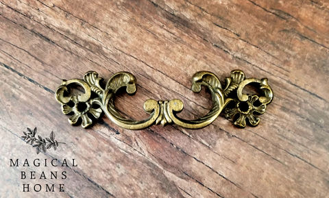Victorian,Antiqued,Brass,Pull,by,Keeler,Co,keeler brass period hardware, kbc drawer pulls, dark brass pull, french provincial drawer pulls, vintage dresser hardware, french country pulls, antiqued brass drawer pulls, large french vintage dresser pull handles