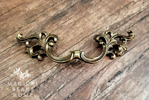French,Vintage,Drawer,Pulls,by,Keeler,Brass,Company,in,Antiqued,vintage hardware, furniture hardware, Keeler brass co, period hardware, french drawer pulls, french country drawer pulls, french vintage pulls, antiqued brass drawer pulls, leafy drawer pulls