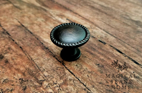 Oil,Rubbed,Bronze,Twist,Edge,,Flat,Footed,Decorative,Farmhouse,Knob,oil rubbed bronze knobs, dark brown knobs, dresser drawer knobs, dresser hardware, cabinet knobs, rope edge knob, twisted drawer knob, cabinet hardware, footed knob, farmhouse knobs, rustic knobs, decorative knobs