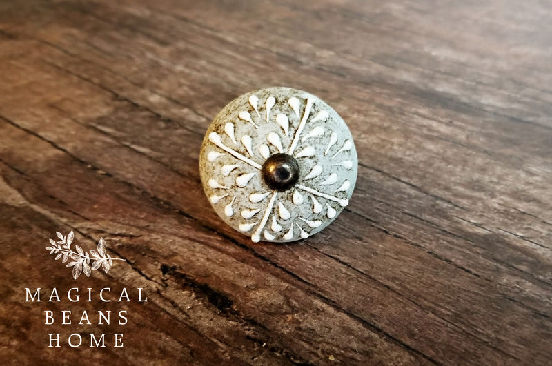 Antiqued Gray & White Floral Ceramic Knob  - product images  of