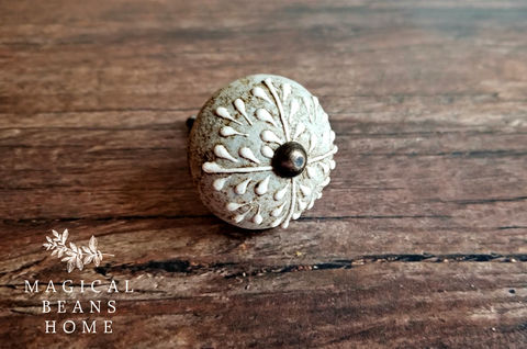 Antiqued,Gray,&,White,Floral,Ceramic,Knob,Grey & Offwhite Knob, Cabinet Knob, Gray Knob, Ivory Knob, Textured Knob, Floral Drawer Knob, Antiqued Gray Knob, Dresser Hardware, Farmhouse Knobs, French Country Knobs, French Vintage Knob, Shabby Chic, Dresser Drawer Pulls, Round Knob, Ceramic Knobs