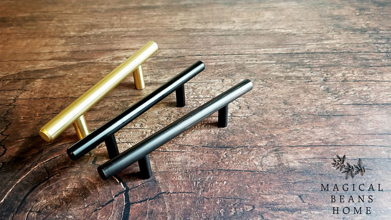 Brushed Gold, Satin Nickel/Silver, Matte Black & Oil Rubbed Bronze European T - Bar Pull Handles  - product images  of