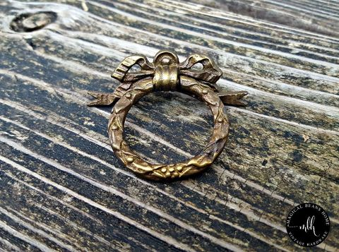 Vintage,Keeler,Brass,Co,Ribbon,,Bow,&,Vines,Ring,Pull,in,Solid,Vintage Ring Pull, Keeler Brass Co Ring Pull, Ribbon & Bow Ring Pull, Fancy Dresser Hardware, Vintage Brass Hardware, Brass Dresser Drawer Pull, Medium Size Ring Pull,  Cabinet Hardware