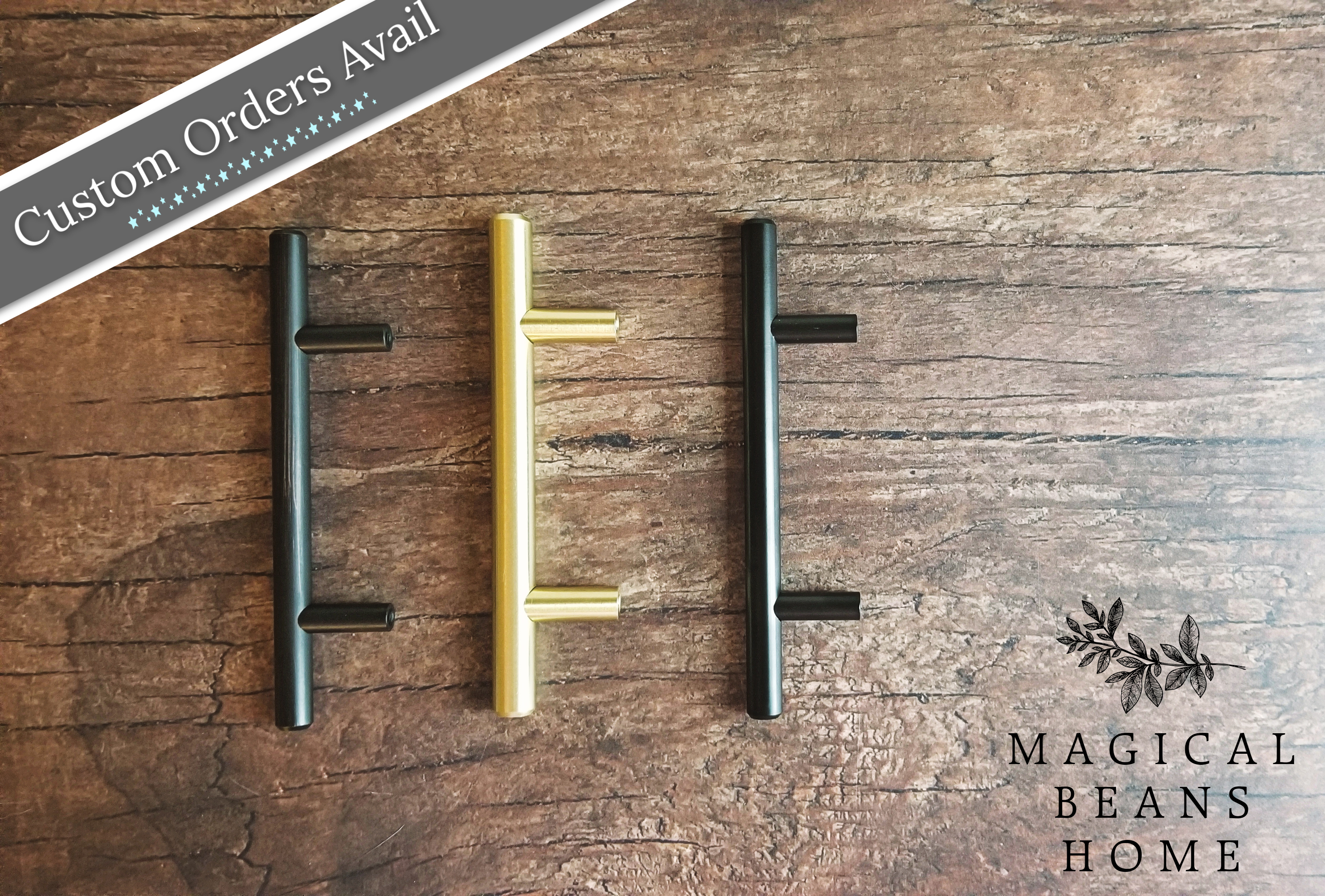 custom orders for silver, gold, black, rubbed oil bronze euro t-bar pulls