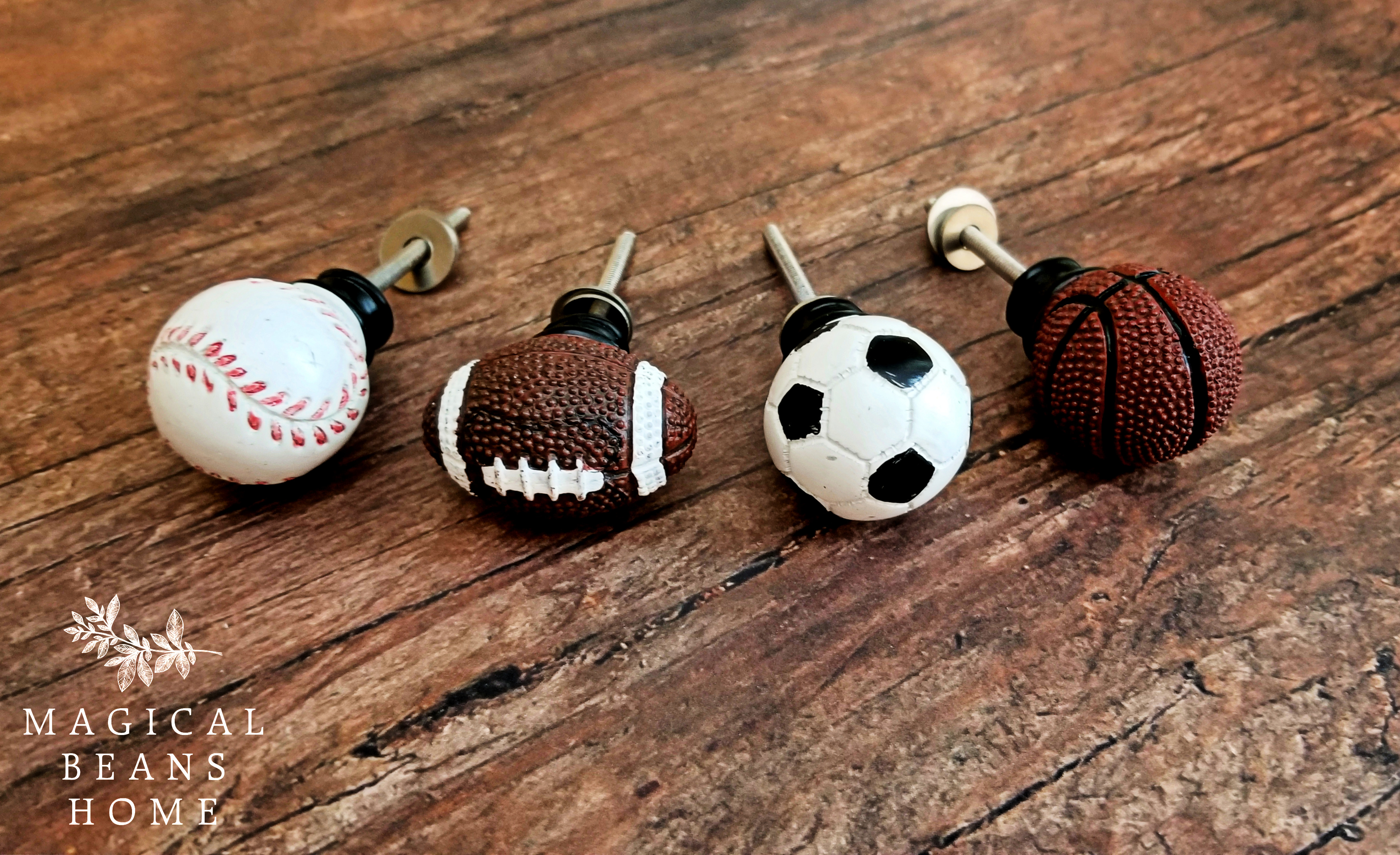 Childrens Sports Themes Baseball, Soccer, Football, Basketball Dresser Door Knobs