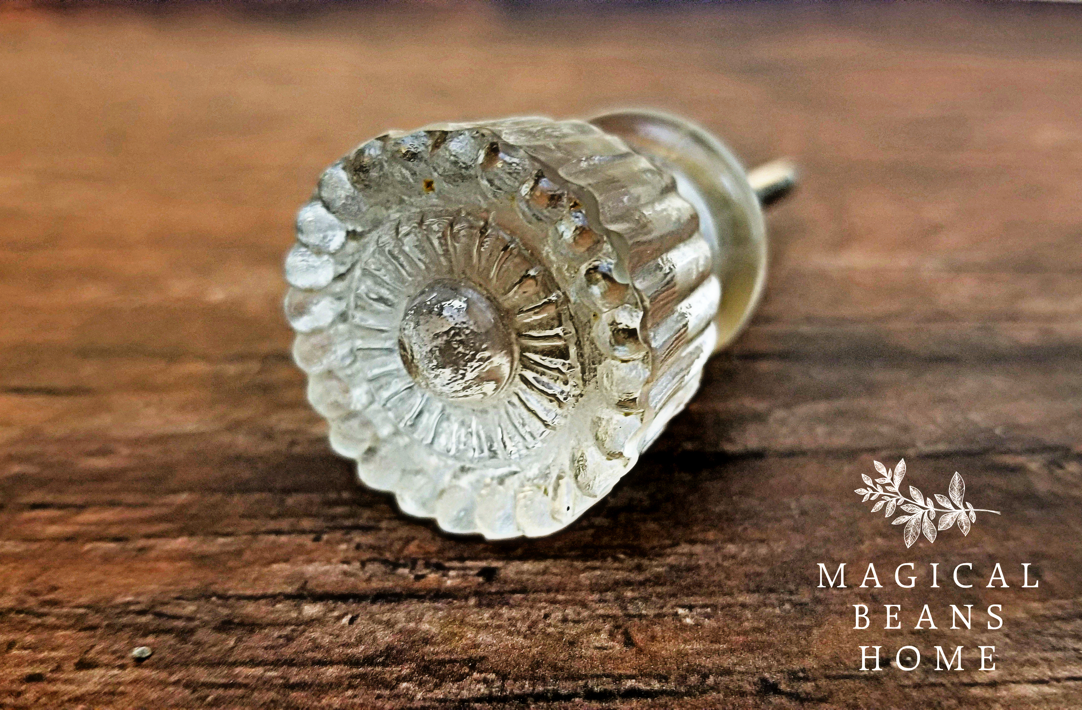 Vintage Inspired Fluted Clear Glass Cabinet Knob