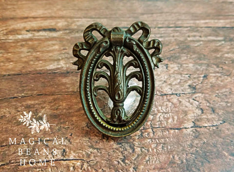 Vintage,Dark,Brass,Ribbon,&,Bow,Oval,Ring,Pull,ribbon & bow oval ring pull, dark brass ring pull, brass drawer pull, oval Hepplewhite pull, girls bedroom dresser pulls, kids bedroom decor, vintage ring pull, vintage brass ring pull