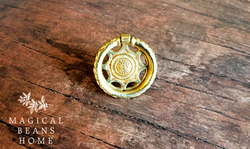Vintage Keeler Brass Co Polished Gold Round Sunburst Hepplewhite Ring Pull  - product images  of