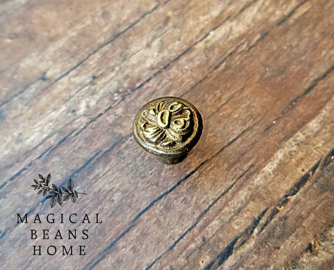 Two,(2),Antique,Keeler,Brass,Co,Miniature,Solid,Knobs,petite knobs, keeler brass co knobs, period hardware, antique drawer knobs, solid brass knobs, jewelry box knobs, mini brass knobs, miniature knobs, cabinet knobs, antiqued gold knobs, gold knobs
