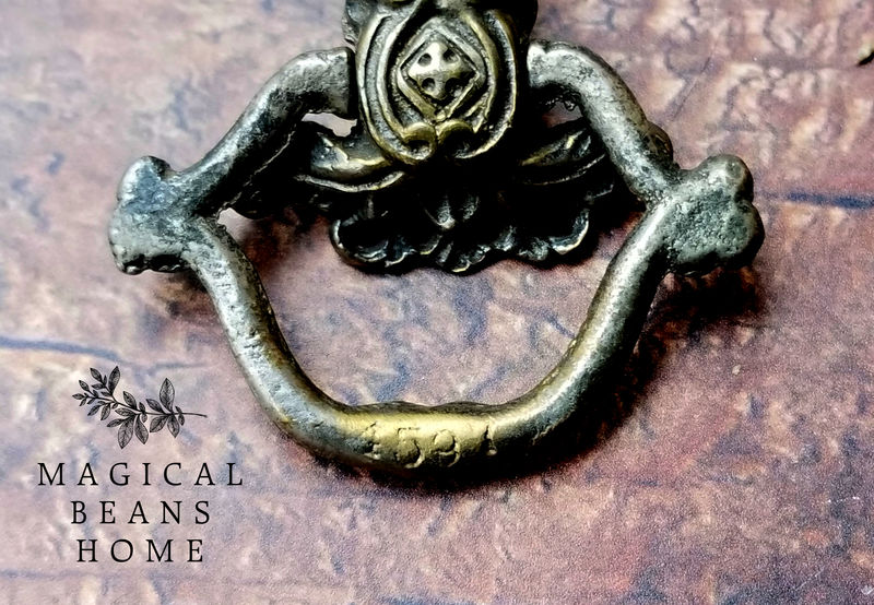 Antique Keeler Brass Co. Antiqued Pewter Victorian Ring Pull  - product images  of