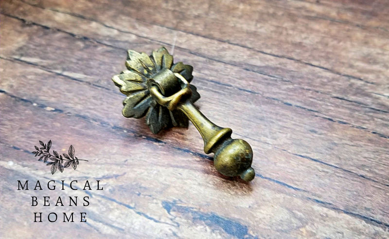 Vintage Keeler Brass Co Antiqued Gold Leaf Rosette & Pendant Pull in Solid Brass  - product images  of