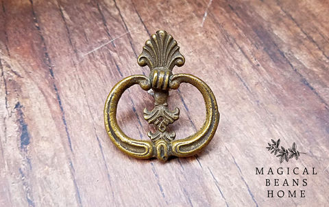 Vintage,Art,Deco,Antiqued,Brass,Ring,Pull,vintage ring pull, antiqued gold ring pull, solid brass hardware, buffet hardware, knocker style pull, brass drawer pull, keeler brass co, baroque ring pull