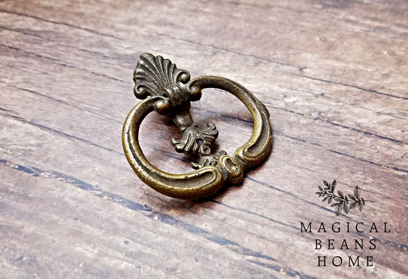 Vintage Art Deco Antiqued Brass Ring Pull    - product images  of