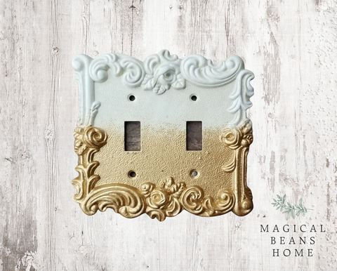 Hand-Painted,Double,Toggle,Light,Switch,Plate,Cover,hand-painted home decor, painted light switches, custom painted double toggle light switch plate covers, Living room decor, farmhouse decor, french vintage decor, french provincial light switch plate, rose motif switch plate, double light switches plate c