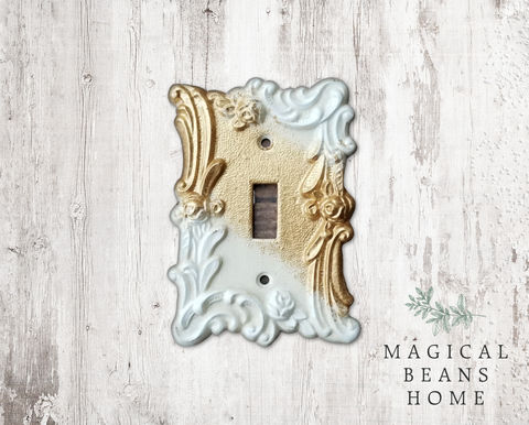 Hand-painted,Single,Toggle,Light,Switch,Plate,Cover,light switch plate, single toggle switch plate cover, hand-painted light switch plates, gold & off white switch plate cover, toggle switch plate cover, living room hardware, rose pattern light switch cover