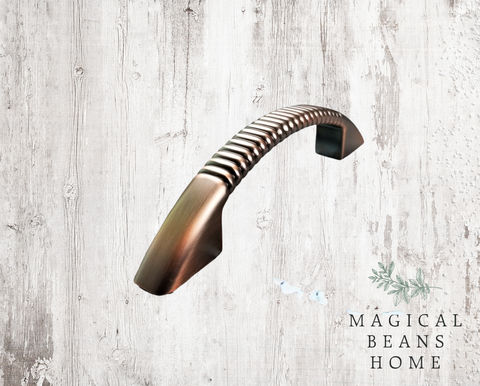 Weathered,Copper,Fluted,Drawer,Pull,Handles,Dresser Hardware, Decorative Drawer Pulls, Kitchen Cabinet Pulls ,Weathered Copper Drawer Pull ,Distressed Copper Drawer Pull Handle ,Copper Fluted Pull ,Industrial Farmhouse Dresser Pull ,Rose Gold Drawer Pull