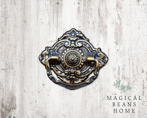 Vintage,Victorian,Drop,Bail,Pull,in,Pressed,Brass,vintage drawer pulls, Victorian dresser hardware, antiqued brass dresser pull, ornate cabinet pulls, neoclassical drawer pulls, drop bail pulls