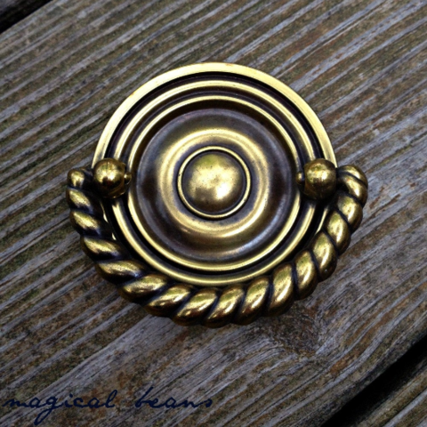 Vintage,Keeler,Brass,Co,Antiqued,Gold,,Multi-Ring,Nautical,Style,Round,Hepplewhite,Pull,Vintage Pulls, Keeler Brass Co Period Hardware, Nautical Drawer Pulls, Coastal style, Round Hepplewhite Pull, Bras Hepplewhite Pull, Dresser Drawer Pull, Antiqued Gold Multi Ring Hepplewhite Pull, Authentic Vintage Hardware,