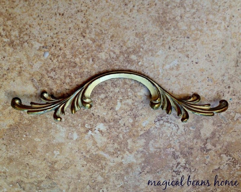 Vintage Keeler Brass Co. Antiqued Gold w/ Ivory Overlay French Provincial Leafy Drawer Pull Handles  - product images  of