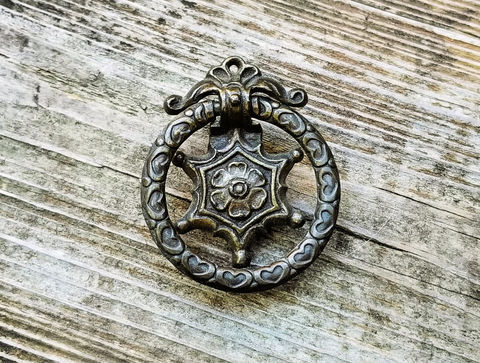 Vintage,Keeler,Brass,Co,Victorian,Dark,Ring,Pull,vintage ring pull, keeler brass co, period hardware, dark brass drawer pull, dark brown ring pulls, ribbon wreath pulls, dresser hardware, drop bail pulls,