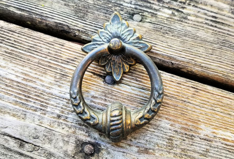 Vintage,Large,Antiqued,Brass,Knocker,Style,Ring,Pull,large ring pull, vintage ring pull, brass ring pull, drawer pulls, dresser hardware, antiqued gold ring pull, vintage dresser pulls, hutch buffet pulls, brass drawer pulls, knocker style ring pull,