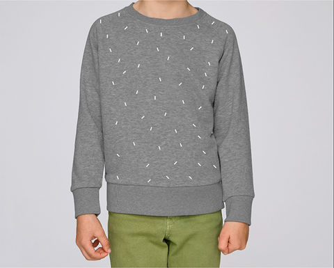 Speckled,Sweatshirt,Grey/White