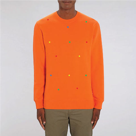 Polka,Orange,Organic Cotton Sweatshirt, Orange Sweatshirt, Organic Cotton Orange Sweatshirt, Polka Orange men's orange sweatshirt, women's orange sweatshirt, unisex orange sweatshirt, men's organic cotton orange sweatshirt, women's organic cotton orange sweatshirt