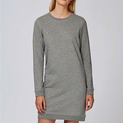 Polka,Fluoro,Heather,Gray,Shirt,Dress,Organic Cotton Shirt dress, Heather Gray Organic Cotton Shirt Dress, Polka Fluoro Heather Gray Shirt Dress