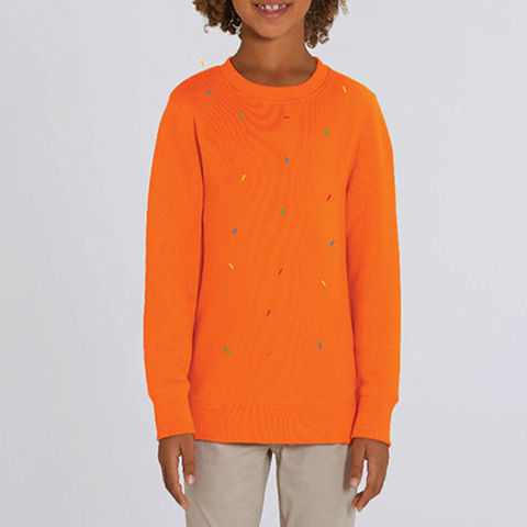 Reks,Bright,Orange,Kids Organic Sweatshirt, Orange Kids Organic Sweatshirt, Reks Bright Orange Sweatshirt, boys orange sweatshirt, girls orange sweatshirt