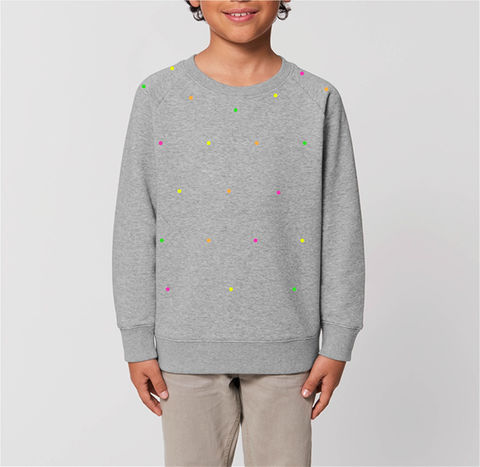 Kids,Polka,Fluo,/,Heather,Gray,Organic Cotton Kids Sweatshirt, Heather Gray Sweatshirt, Gray kids sweatshirt, Gray heather sweatshirt, girls Gray Heather sweatshirt, boys Gray sweatshirt, unisex Gray sweatshirt