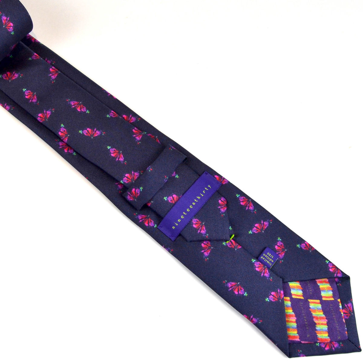 Silk navy men's tie with butterfly motif - product images  of