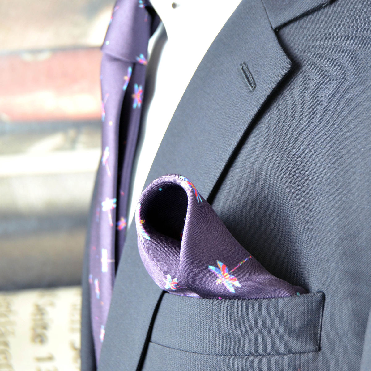 Silk purple grape pocket square with pink and blue dragonflies - product images  of