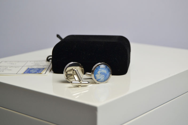 George VI genuine postal stamp, history lovers cufflinks - product images  of