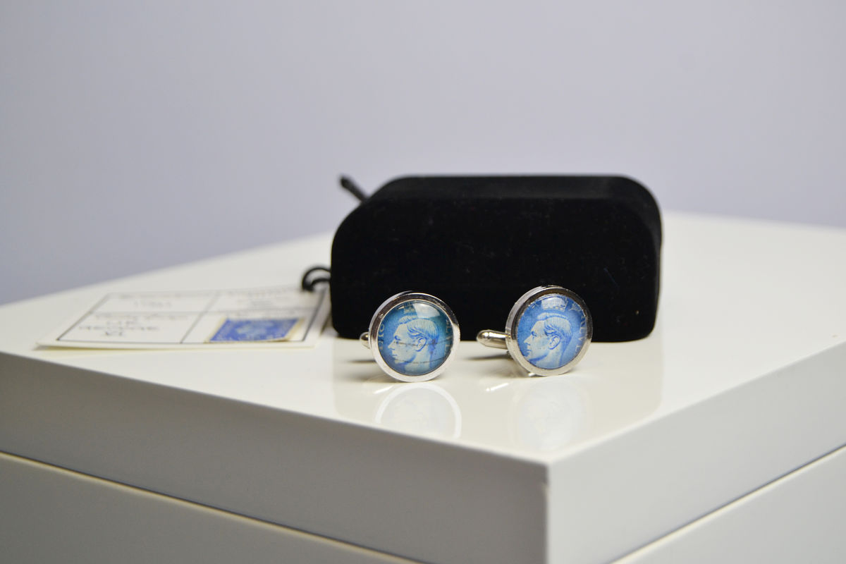 George VI genuine postal stamp, history lovers cufflinks - product image