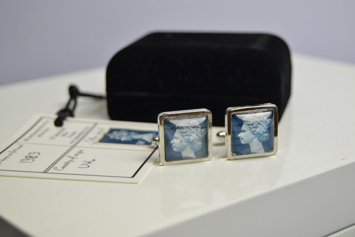 Queen Elizabeth II -1989 blue postage stamp heavyweight cufflinks - product images  of