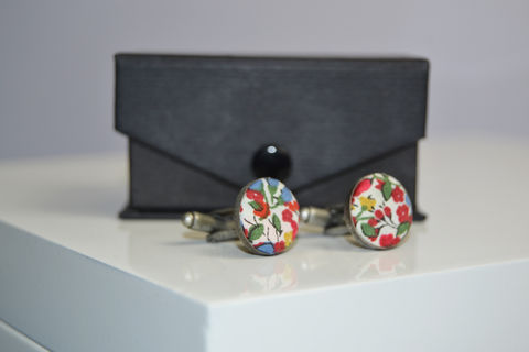 Liberty,of,London,Covered,button,cufflink,Liberty of London, colour, floral, cufflink, gift.