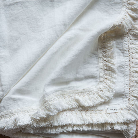 Linen,Tablecloth,with,Fringe,Lino Per Cucina, Table Linens, Italian