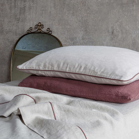 Linen,Pillowcases,with,Piping,once milano luxury linen pillowcases piping bed coda di topo bordino