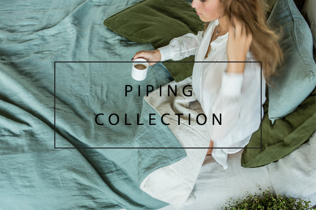 shop luxury bed linens with piping