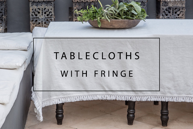 Luxury linen tablecloths with fringe