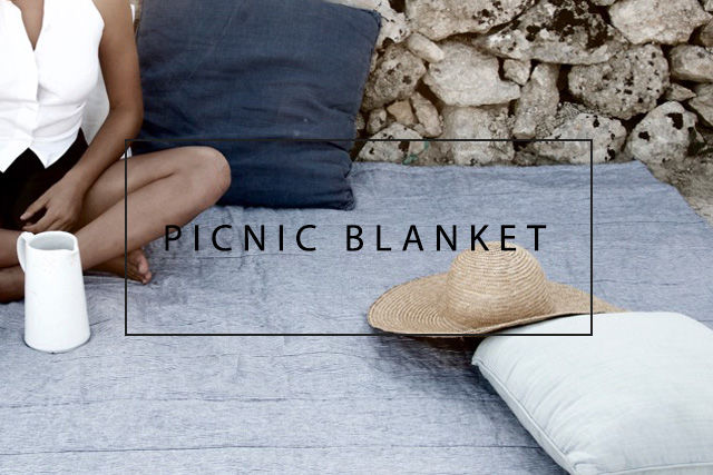 linen and nylon picnic blanket