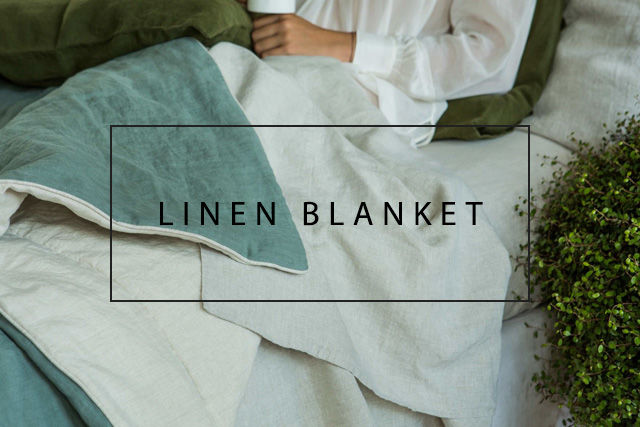 Luxury linen blanket with piping